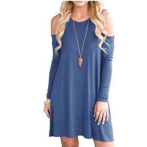 Cold Shoulder Tunic Top Swing T-Shirt Loose Dress